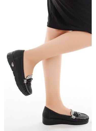 Ayakland Ayakland Cns 181 A.Taşlı Günlük Bayan Babet Ayakkabı Siyah